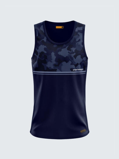 Men Singlet Blue Printed Tank Top-1779BL