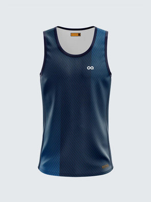Men Singlet Blue Printed Tank Top-1780BL