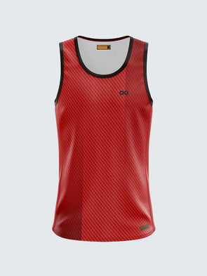 Men Singlet Red Printed Tank Top-1780RD