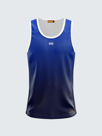 Men Singlet Blue Printed Tank Top-1776BL