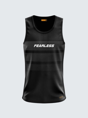 Men Singlet Black Printed Tank Top-1777BK