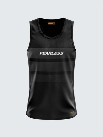 Men Singlet Black Printed Tank Top-1777BK - Sportsqvest