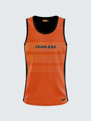 Men Singlet Orange Printed Tank Top-1777OG