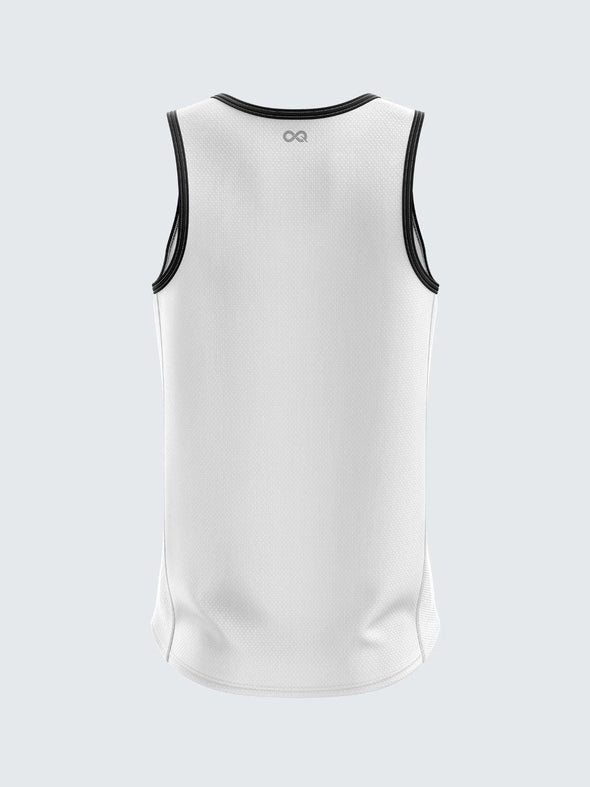 Men Singlet White Printed Tank Top-1777WH