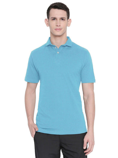 Men Sky Blue Winter Polo T-shirt-A1026BL