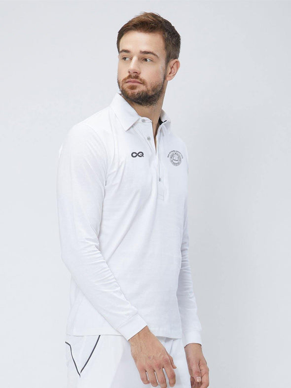 Men Cricket Whites 2-Way Stretch Full Sleeves Solid Polo Jersey CW01 :19 - Sportsqvest