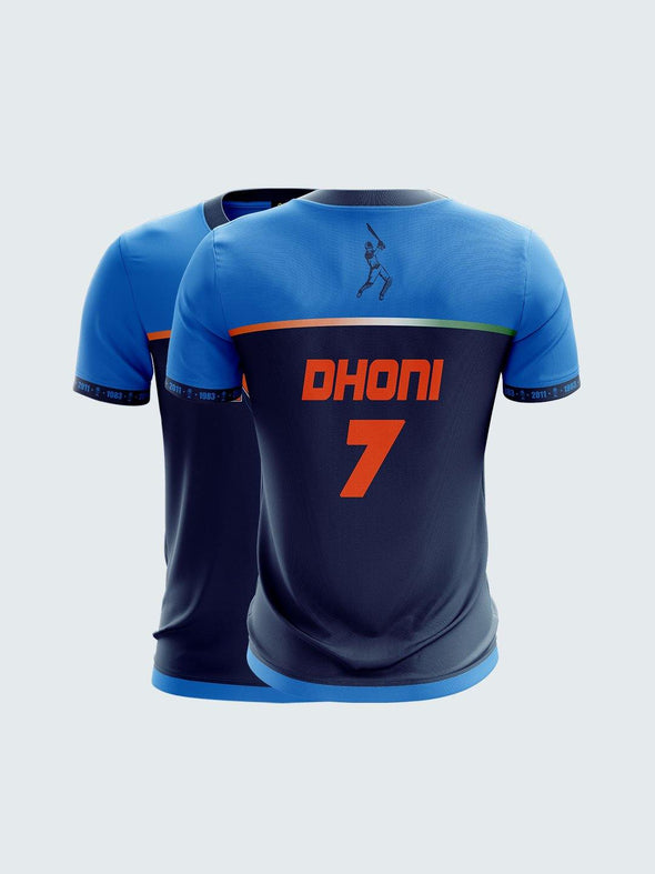India Cricket Dhoni Fan Jersey Round Neck T-Shirt-IN1035 - Sportsqvest