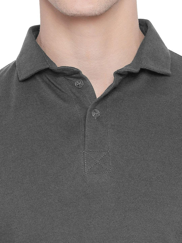Men Grey Solid Winter Polo T-shirt-A1025GY - Sportsqvest