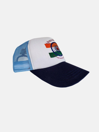 Bharat Army Light Blue & White Trucker Cap-A10108