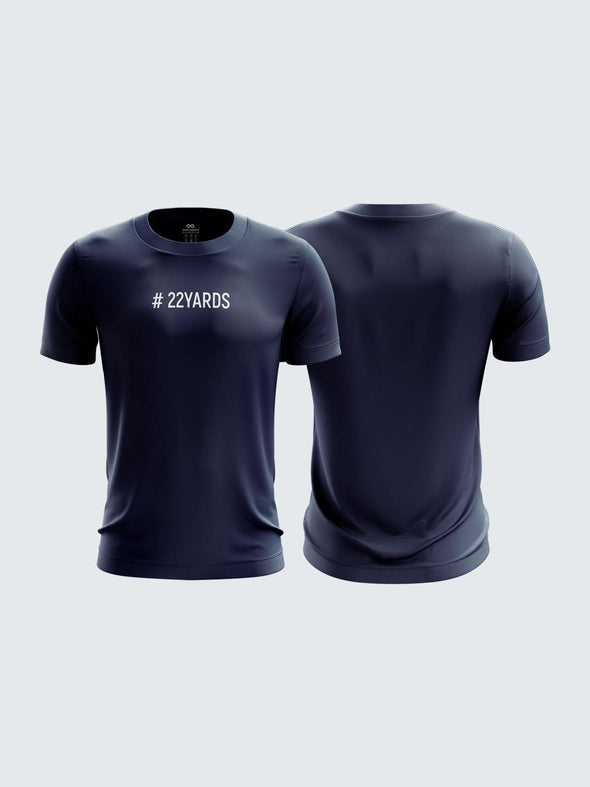 QI Gully Cricket Navy Blue Printed Round Neck Cotton T-Shirt-1740CNB