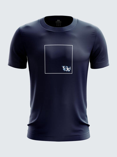 QI Gully Cricket Navy Blue Printed Round Neck Cotton T-Shirt-1772CNB
