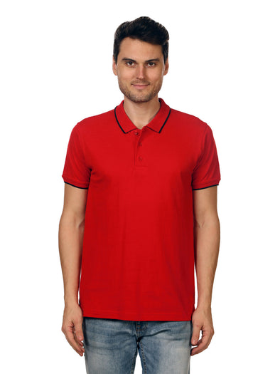 Men Red Tipping Polo Neck T-shirt-A10104RD