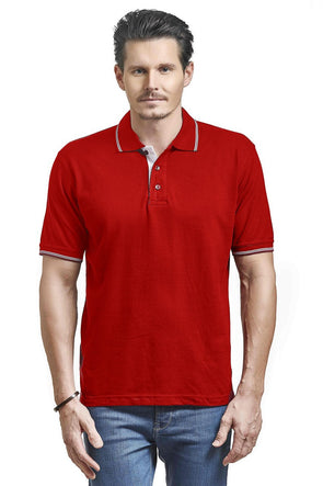Men Red Tipping Polo Neck T-shirt-A10103RD