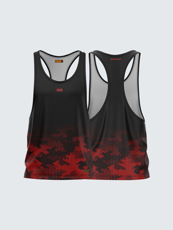 Men Racerback Black Printed Vest-1671BK