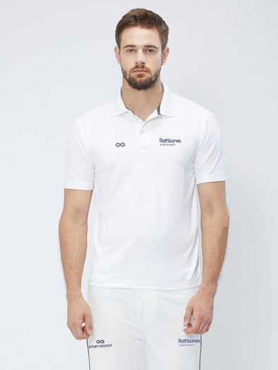 Men Cricket Whites 2-Way Stretch Solid Ribbed Collar Polo Jersey-A1008WH