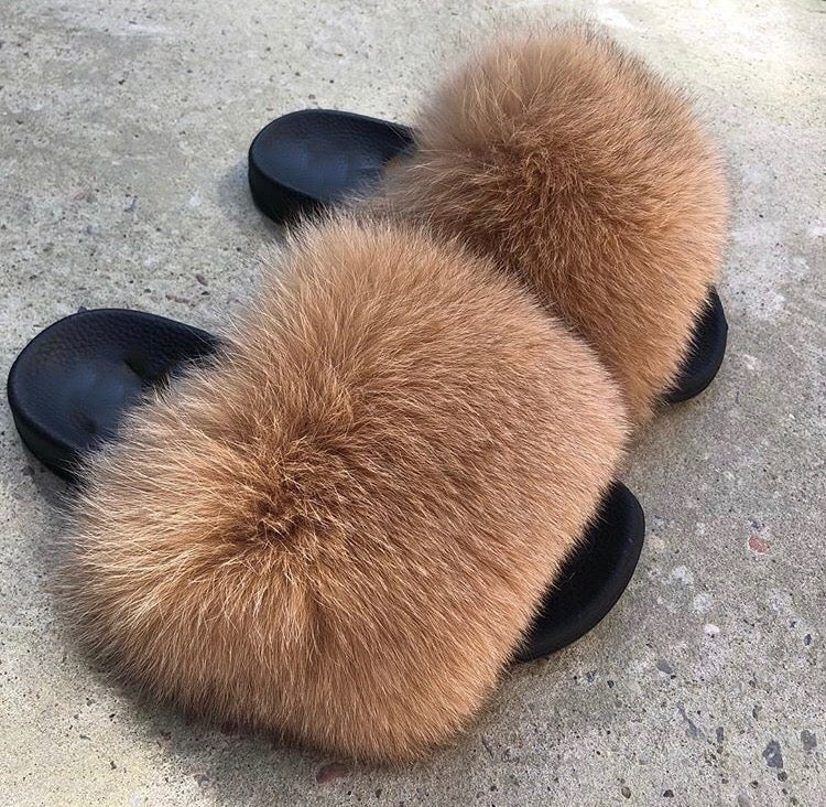 2479e2a81772 Cocoa Brown Fur Slides by SPORTY LUX