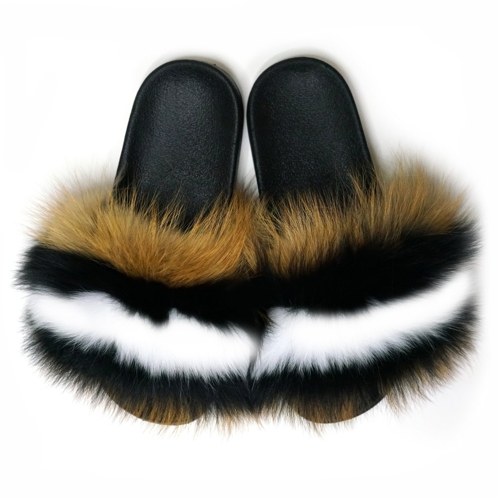 99f1bd8acd1a real fox fur slides in brown with black and white stripes