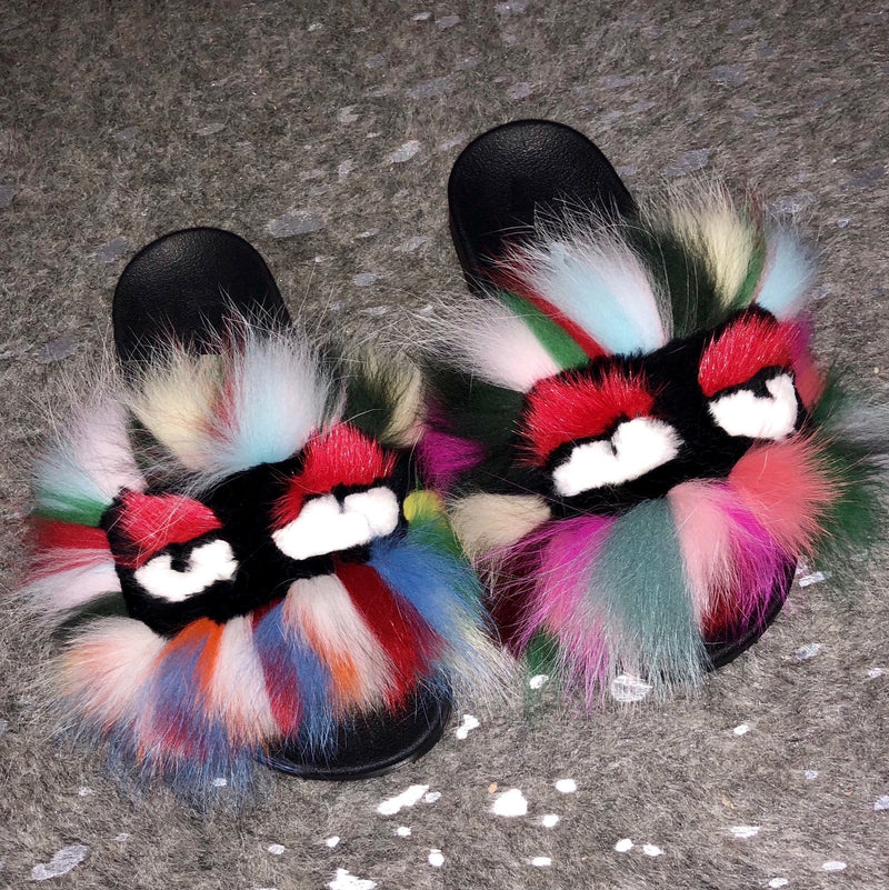 rainbow fashion monster fur slides by sporty lux