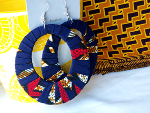 Blue, Red, Brown Ankara earrings, Large, Hoops, African print, Wax material, Ankara fashion, Dope earrings.