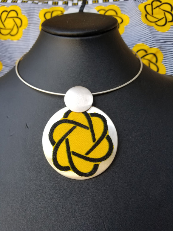 Ankara/Silver Choker Necklace Set