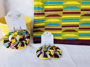 Kente print ankara earrings, Large, Hoops, African print, Wax material, Ankara fashion, Dope earrings.