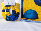Yellow & Blue Ankara earrings, Large, Hoops, African print, Wax material, Ankara fashion, Dope earrings.