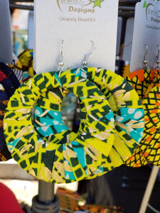 Turquoise, Limegreen, Gold Ankara earrings, Large, Hoops, African print, Wax material, Ankara fashion, Dope earrings.