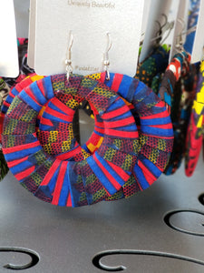 Blue, Red, Yellow Ankara earrings, Large, Hoops, African print, Wax material, Ankara fashion, Dope earrings.