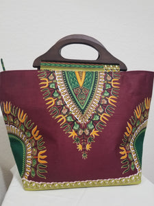 African Dashiki Print  Ankara Wooden Handle Tote Bag
