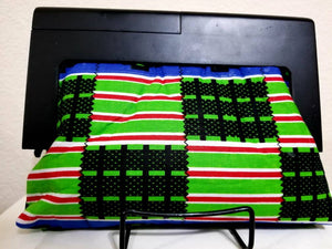 Mini wood frame Ankara clutch, green, Kente print, fabric purse, black, red, white, blue, wood handle, 100% cotton, African print purse.