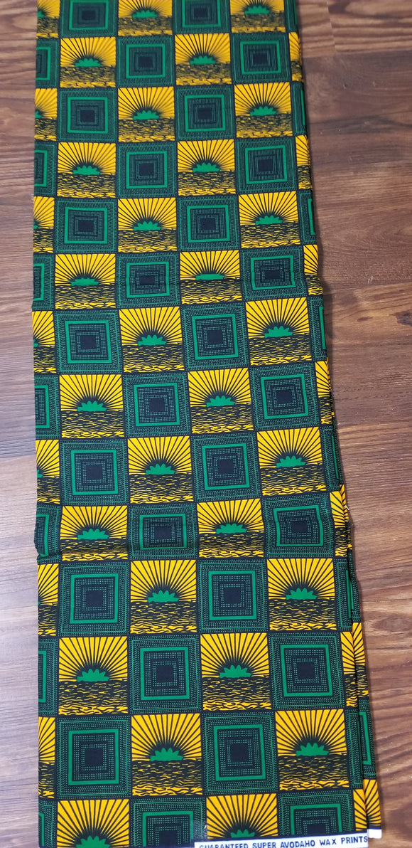 Green/Yellow/Black Ankara Fabric, Multicolor ankara, Ankara,sewing, Wall art, African fabric, Nigerian print, wax.