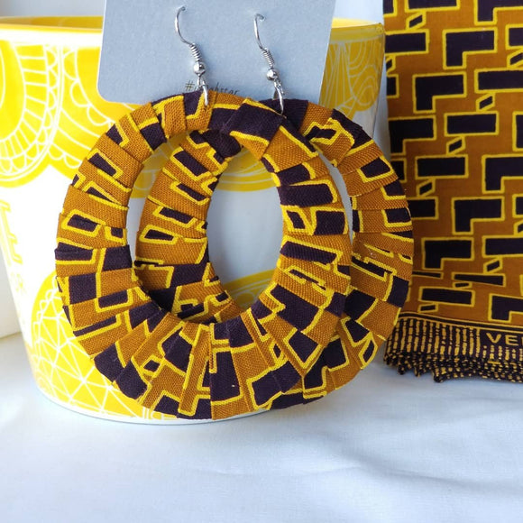 Yellow & Black Ankara Hoop Earrings