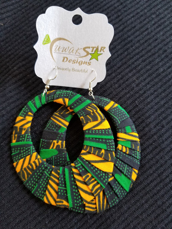 Green, Yellow & Black Ankara Hoop Earrings