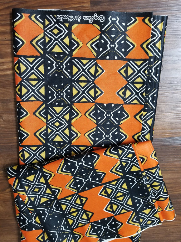Vibrant Woodin ankara Fabric, Multicolor ankara, orange,  white, black, ankara,sewing, wall art, African fabric, Nigerian print, wax.