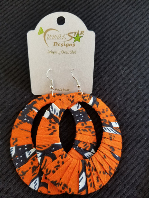 Orange, Black, White,  Ankara Hoop Earrings