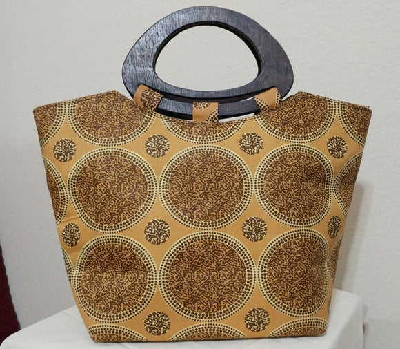 Gold, Brown African Print  Ankara wood handle tote bag