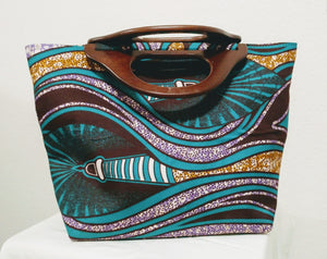 Turquoise, Brown African Print  Ankara wood handle tote bag