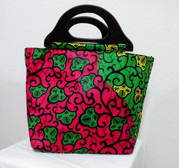 Pink, Yellow, and Green African Print  Ankara wood handle tote bag