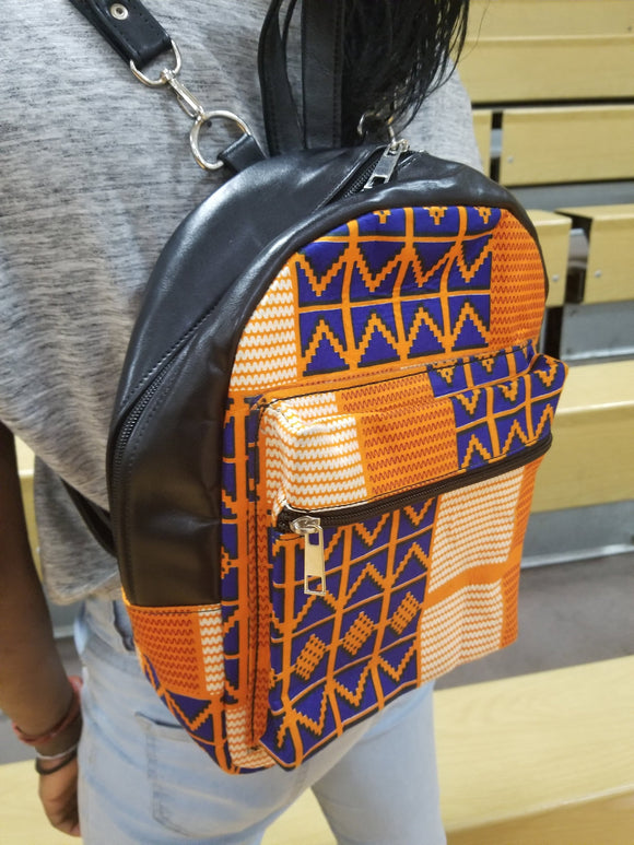 Ankara, African Print Mini Backpack, book bag, back to school bookbag.