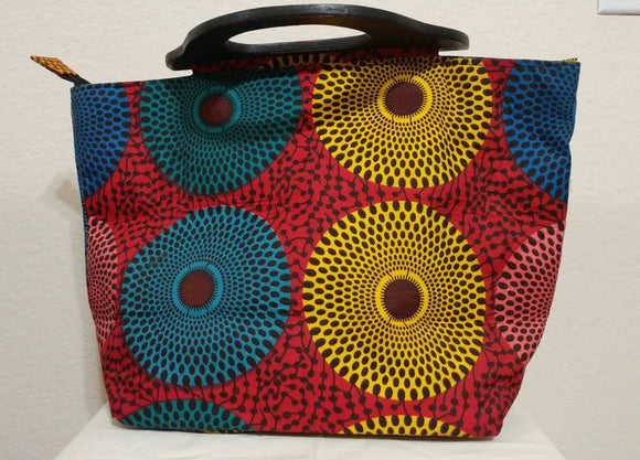 Red, Yellow, Blue African Print  Ankara wood handle tote bag