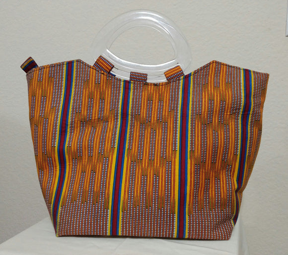 Gold African Print  Ankara tote bag with clear handle