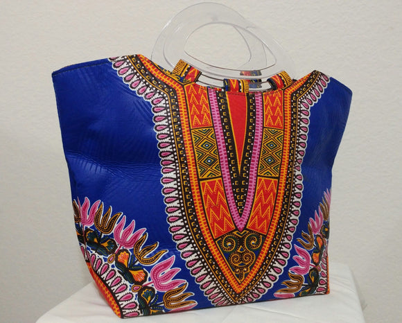 Blue Dashiki African Print  Ankara clear handle tote bag
