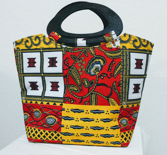 White, Yellow, and Red African Print Ankara wood handle tote bag