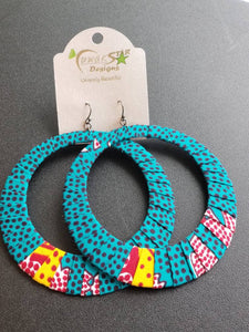 Turquoise Ankara Hoop Earrings