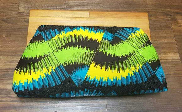 Custom order: Pick a fabric, Get a Wooden Frame Ankara Clutch, wood handle, oversize clutch, wood, batik fabric, adire fabric.