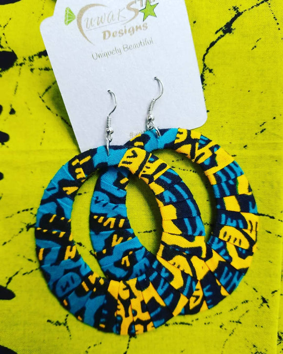 Turquoise, Yellow & Black Ankara Hoop Earrings