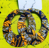 Brown, Orange & Black Ankara Hoop Earrings