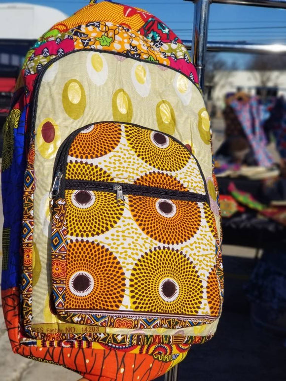 Ankara/African Print, multicolor Multiple Zippered Pockets Backpack