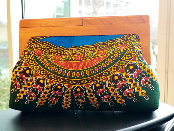 Wooden Frame Ankara Clutch, wood handle, oversize clutch, yellow, orange, brown wood, batik fabric, adire fabric, Nigerian handmade fabric.