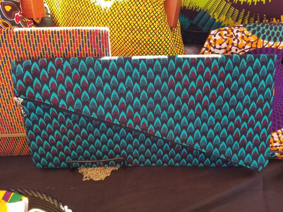 Ankara Fold-over Clutch, diagonal shape purse, African print purse, handmade